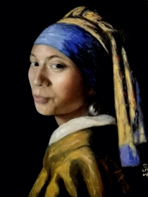 A painting dedicated to my wife and a tribute to the dutch painter Johannes Vermeer. This is a portrait of my wife posed as Vermeer's girl with pearl earring.